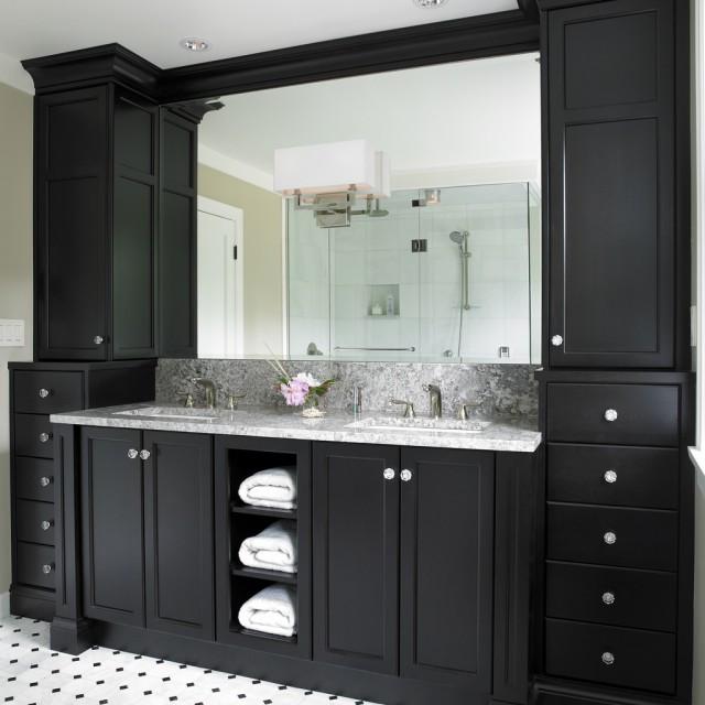 Black Bathroom Cabinet  Black Bathroom Vanity Design Ideas
