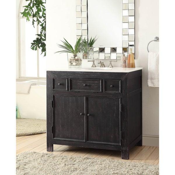 Black Bathroom Cabinet  Shop Somette Black 36 inch 2 Drawer Drop In Vanity Sink