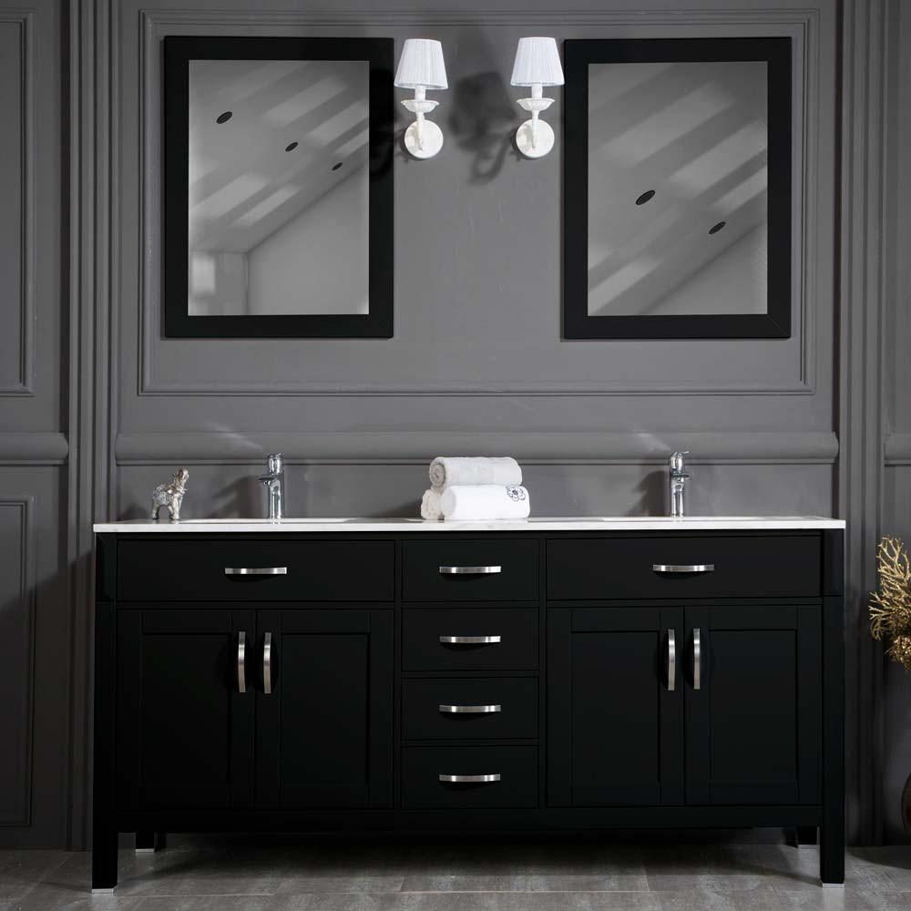Black Bathroom Cabinet  Woodbridge 72 inch Black Double Sink Bathroom Cabinet