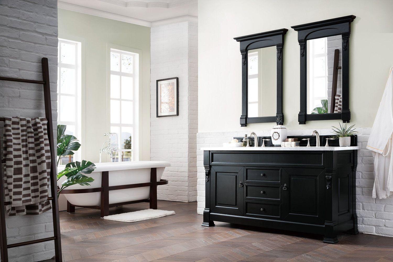 "Black Bathroom Cabinet  60"" Brookfield Antique Black Double Vanity Bathroom Vanity"