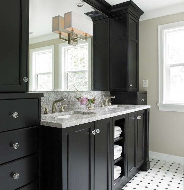 Black Bathroom Cabinet  Black Bathroom Vanity Transitional bathroom Benjamin