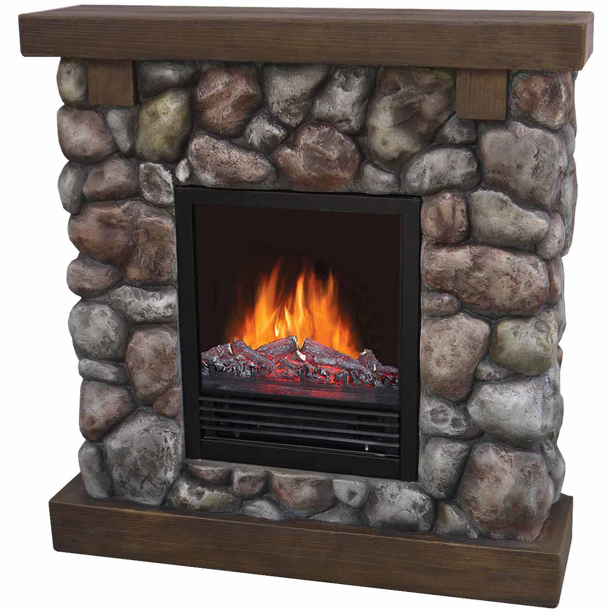 "Blue Electric Fireplace  37"" Polyfiber Electric Fireplace River Blue Walmart"