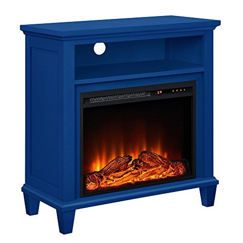 Blue Electric Fireplace  Electric Fireplace TV Stand 32 Inch Navy Remote Control