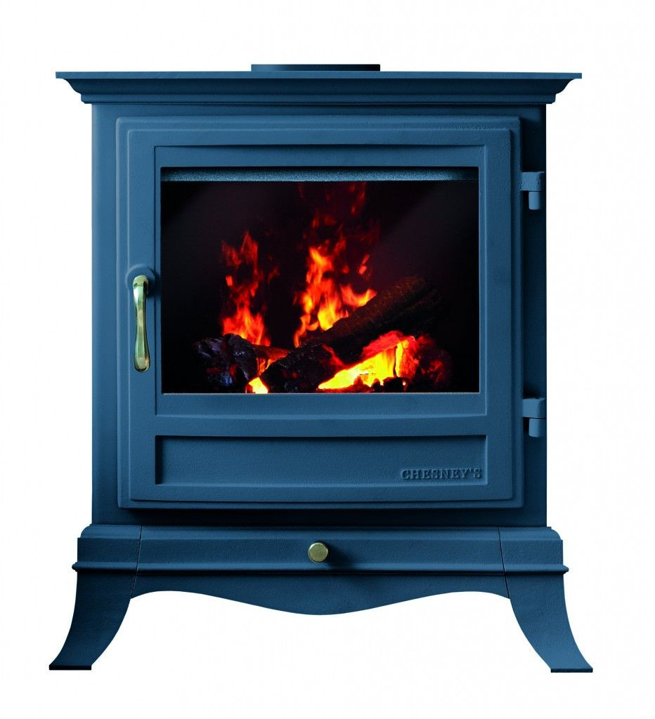 Blue Electric Fireplace  Chesney s electric stoves with Farrow & Ball in Hague Blue