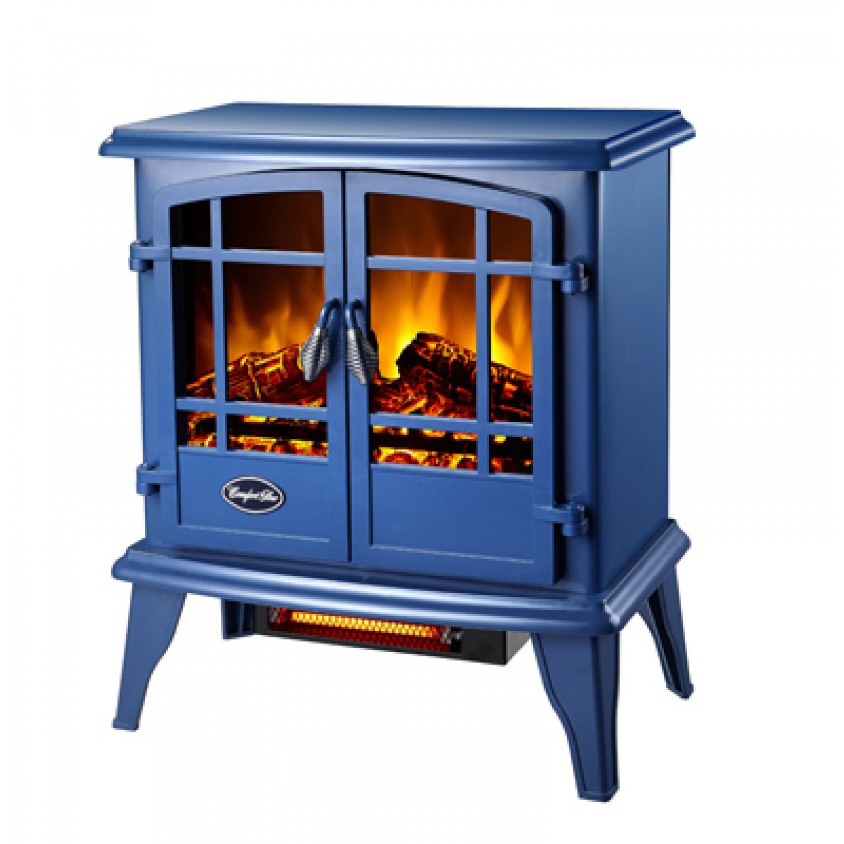 Blue Electric Fireplace  fort Glow EQS133 The Keystone Electric Stove Steel Blue