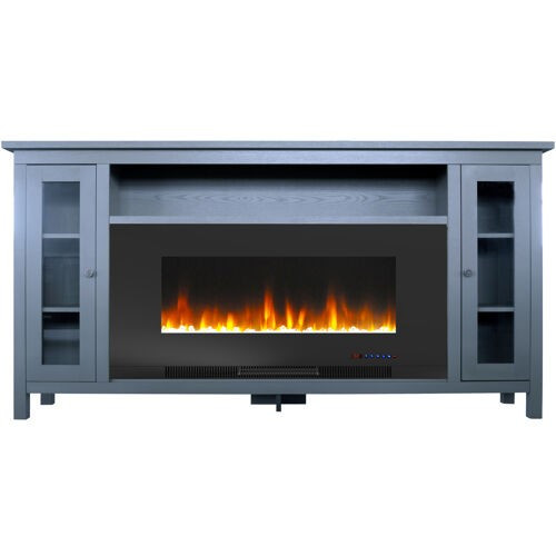 Blue Electric Fireplace  Cambridge Somerset 70 In Slate Blue Electric Fireplace TV S
