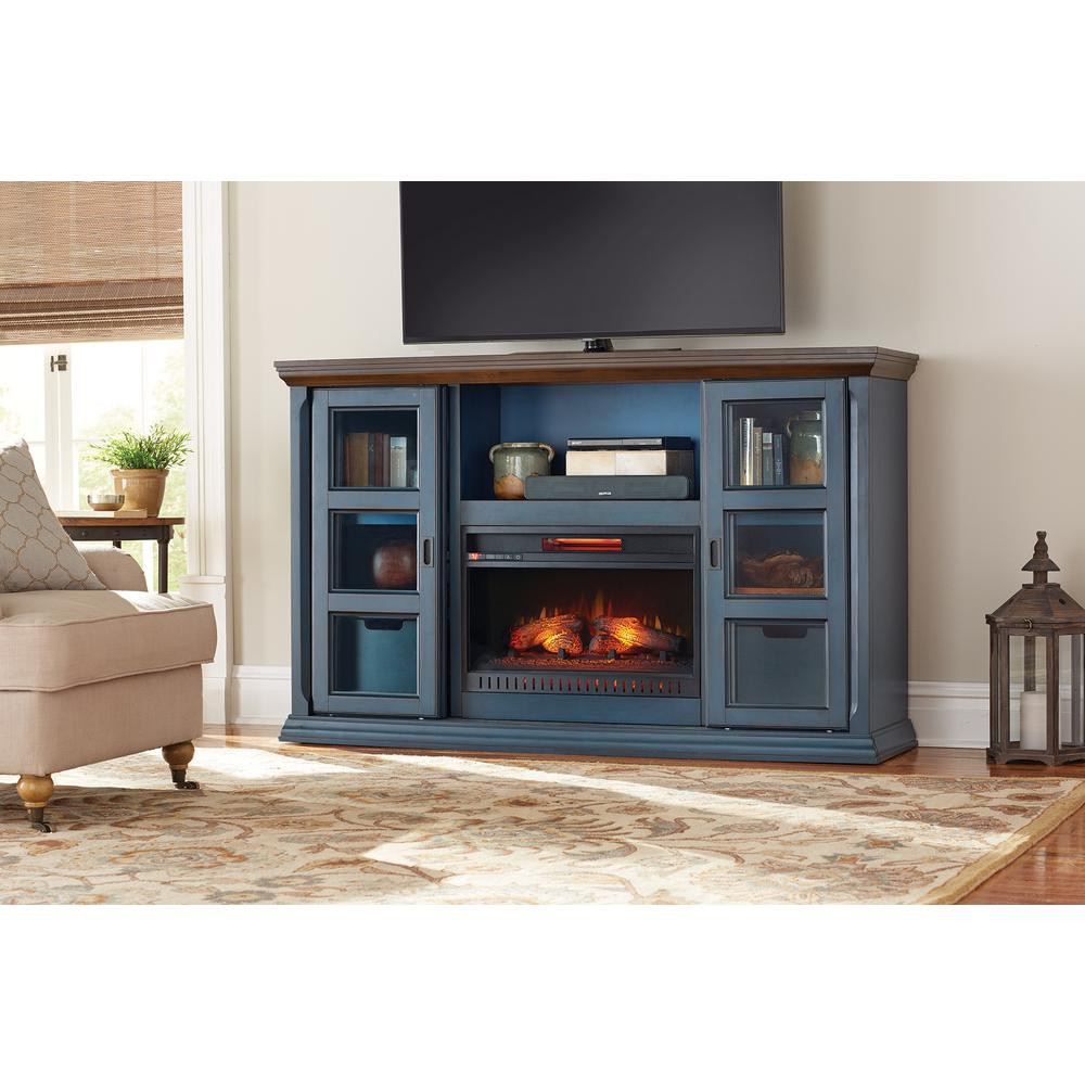 Blue Electric Fireplace  Home Decorators Collection Arabian Tall 65 in TV Stand