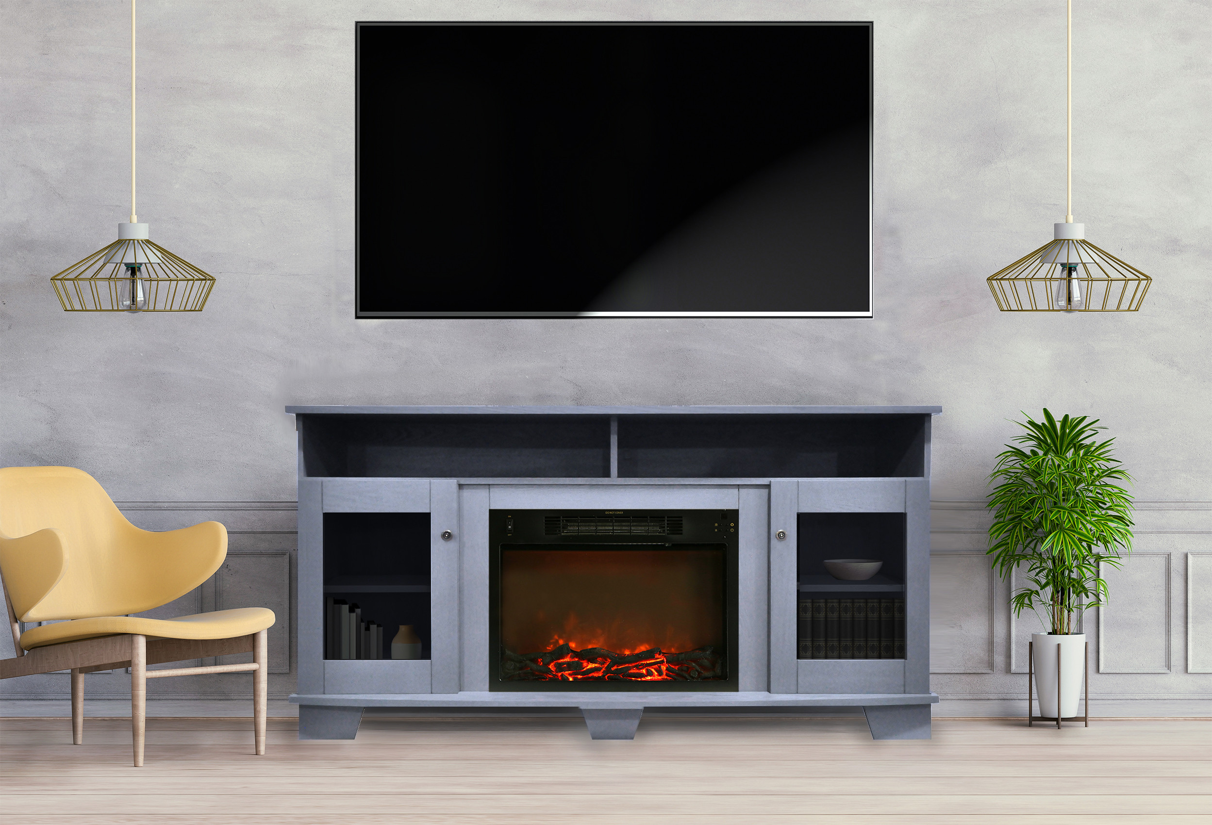 Blue Electric Fireplace  Cambridge Savona 59 In Electric Fireplace in Slate Blue