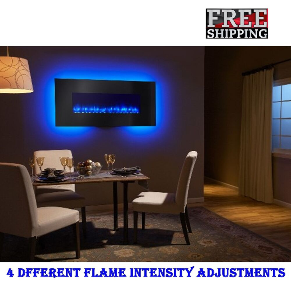 "Blue Electric Fireplace  Modern Linear Wall Mount Electric Fireplace 58"" LED Light"