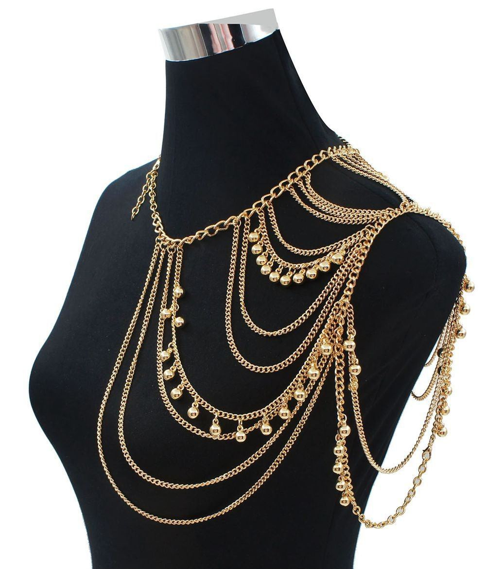 Body Chain Necklace  e Shoulder Multiple Layered Body Chain Necklace