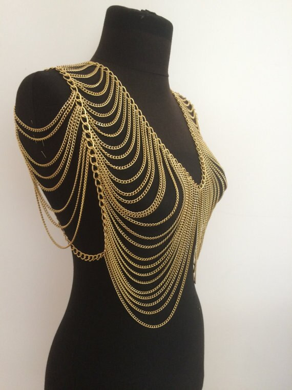 Body Chain Necklace  Aliexpress Buy gold body chain gold vest chain