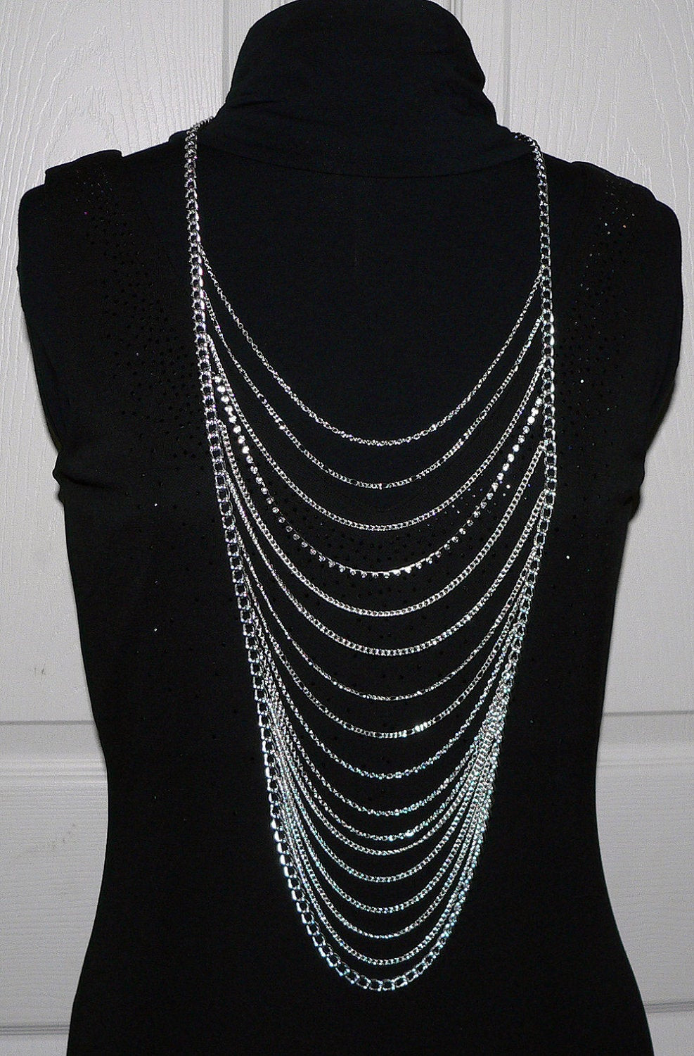 Body Chain Necklace  Ladder Body Chain Necklace Silver Harness by