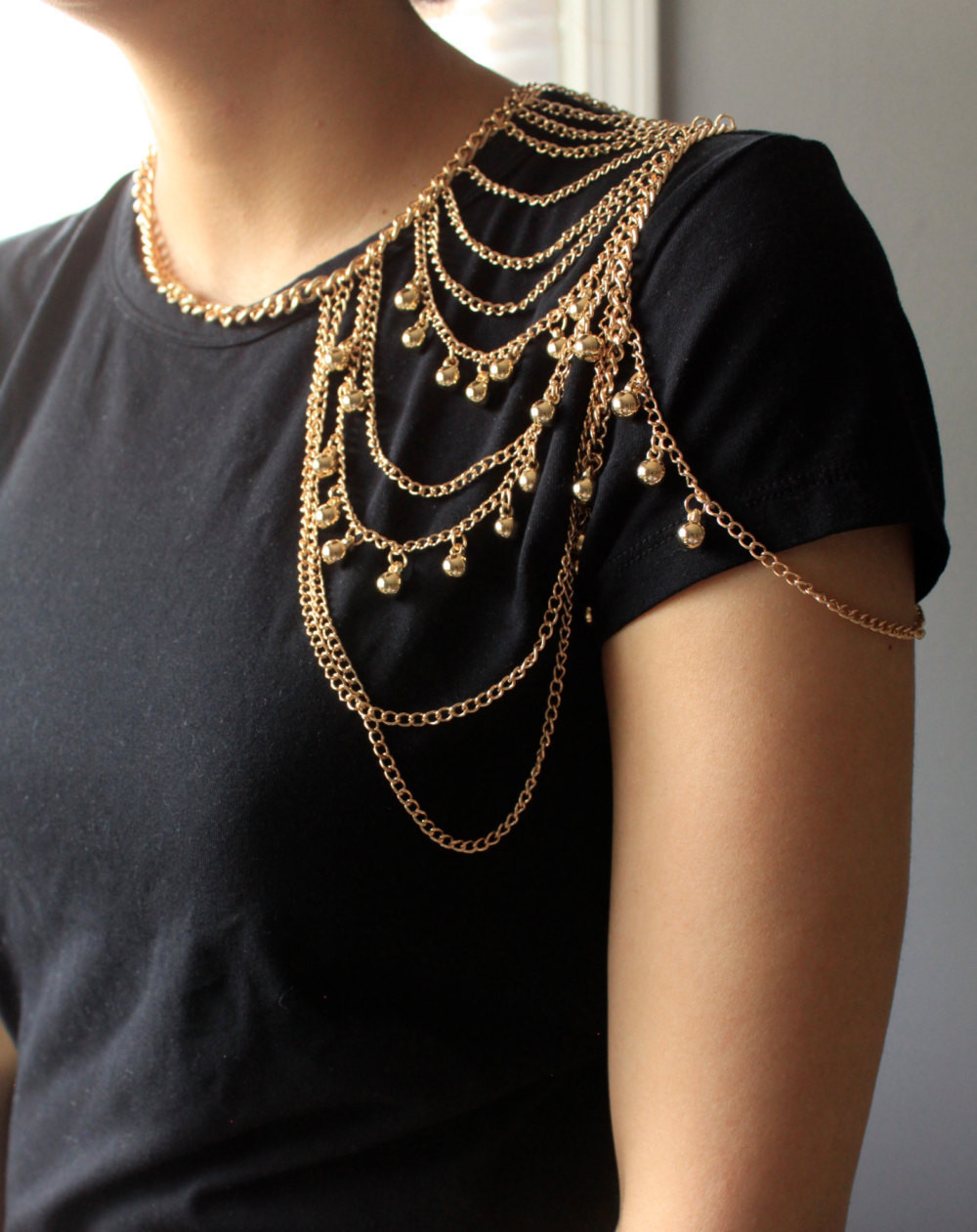 Body Chain Necklace  Shoulder Jewelry Gold Shoulder Chain Body by SusVintage on