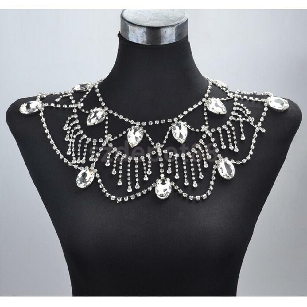 Body Chain Necklace  Wedding Bridal Party Crystal Shoulder Body Chain Necklace