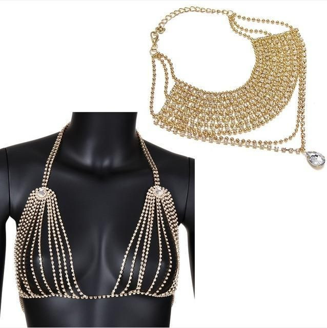 Body Jewelry Coachella  Coachella Bra Chain Crystal Rhinestone Body Jewelry