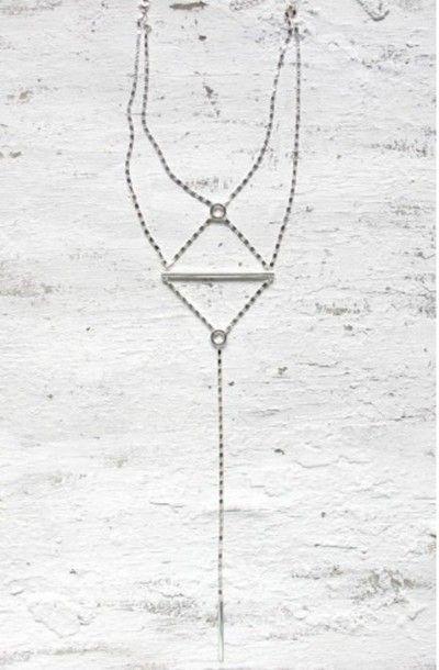 Body Jewelry Coachella  Jewels silver necklace body chain silver boho festival