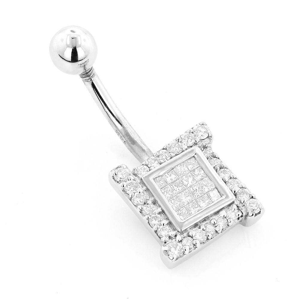Body Jewelry Diamond  Luxury Body Jewelry Gold Diamond Belly Button Ring 0 53ct 14K
