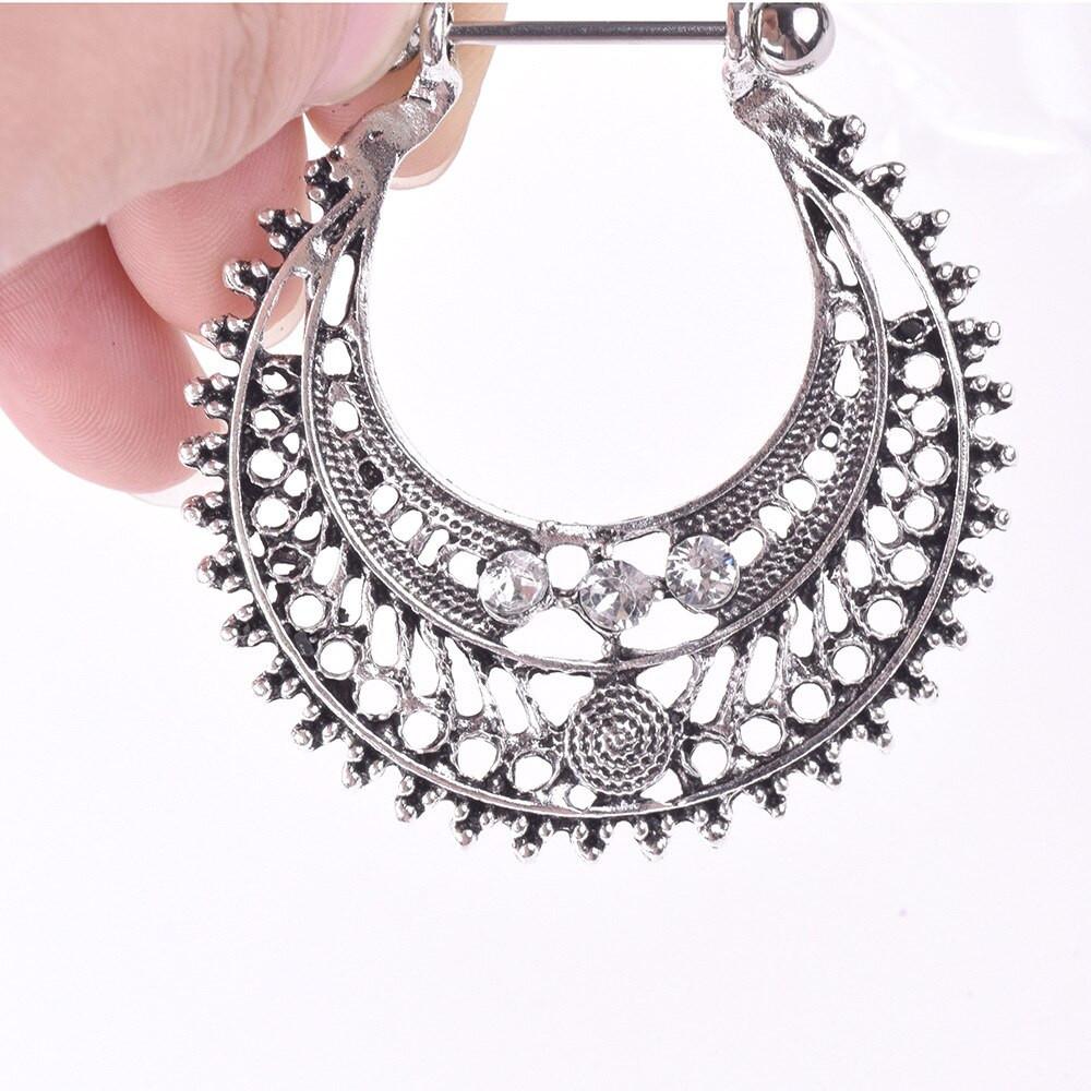 Body Jewelry Diamond  Stainless Steel Nipple Tongue Ring Piercing Body Jewelry