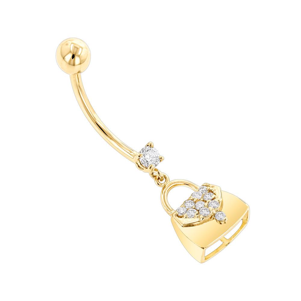 Body Jewelry Diamond  Body Jewelry 14K Gold Diamond Purse Belly Button Ring 0 29