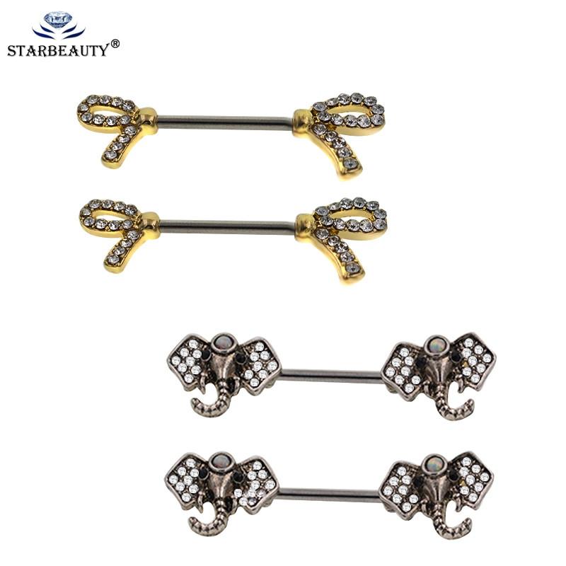 Body Jewelry Fantasy  2Pcs Lot Women s Fashion 14G Fantasy Gold Color Nipple