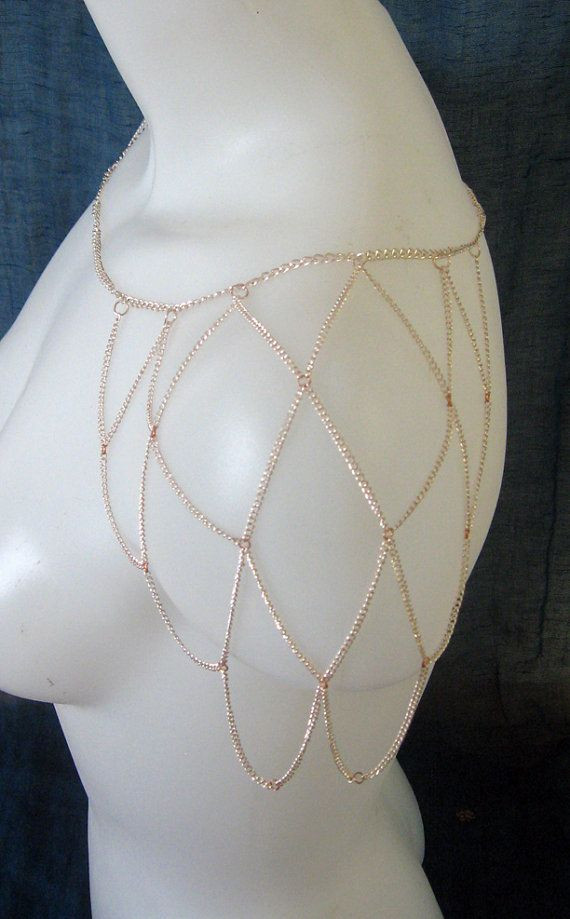 Body Jewelry Fantasy  Bright Copper Shoulder Necklace Women s Accessory Body