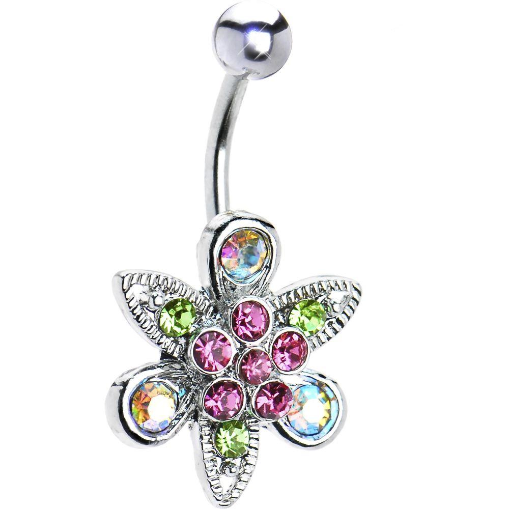Body Jewelry Fantasy  Multi Gem Fantasy Flower Belly Ring