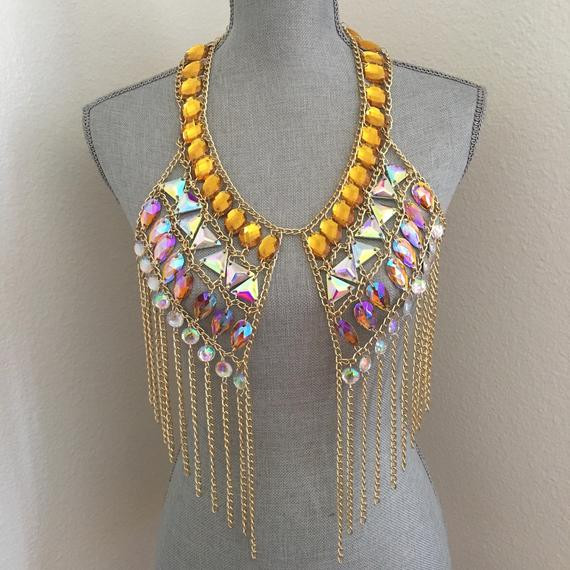 Body Jewelry Festival  AB color gold body chain body jewelry festival costume wear