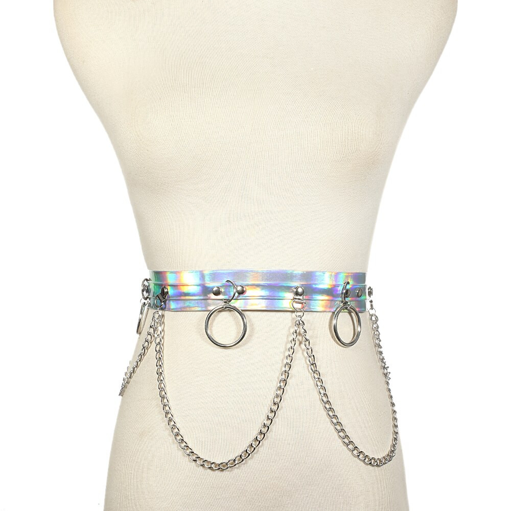 Body Jewelry Festival  Holographic chain belt body chain harness summer beach