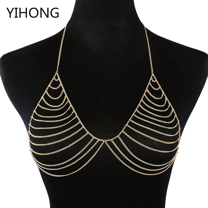 Body Jewelry Outfit  Aliexpress Buy y Chain Bra Gold Color Body Chain