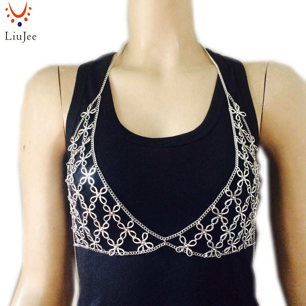 Body Jewelry Over Clothes  silver Color bra chain body Jewelry chain Necklace body