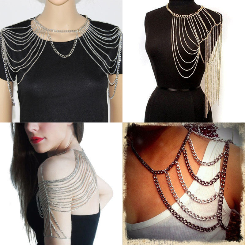 Body Jewelry Over Clothes  Punk Multi Layered Shoulder Harness Tassels Body Chain