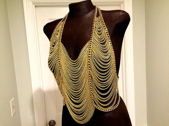 Body Jewelry Over Clothes  Body Harness Gold Body Chains Shoulder Jewelry Metal