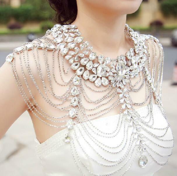 Body Jewelry Shoulder  Vintage Wedding Bridal Silver Crystal Long Full Body
