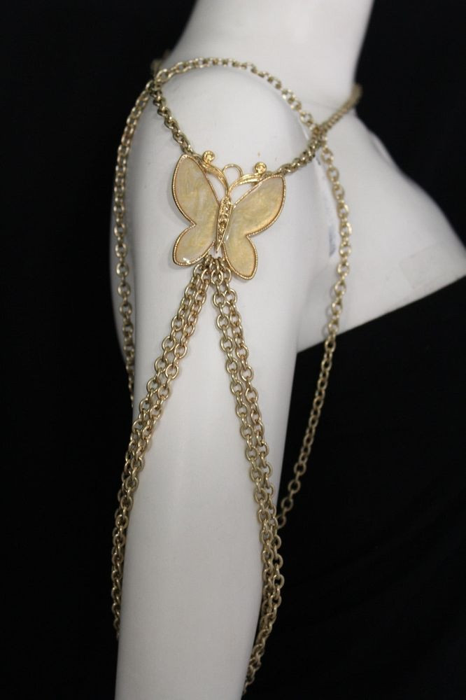 Body Jewelry Shoulder  New Women Shoulder Chain Gold Metal Big Butterfly Necklace