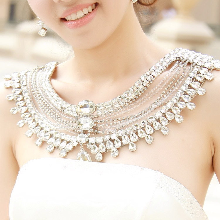 Body Jewelry Wedding  Wedding vintage jewelry women long crystal necklace chain