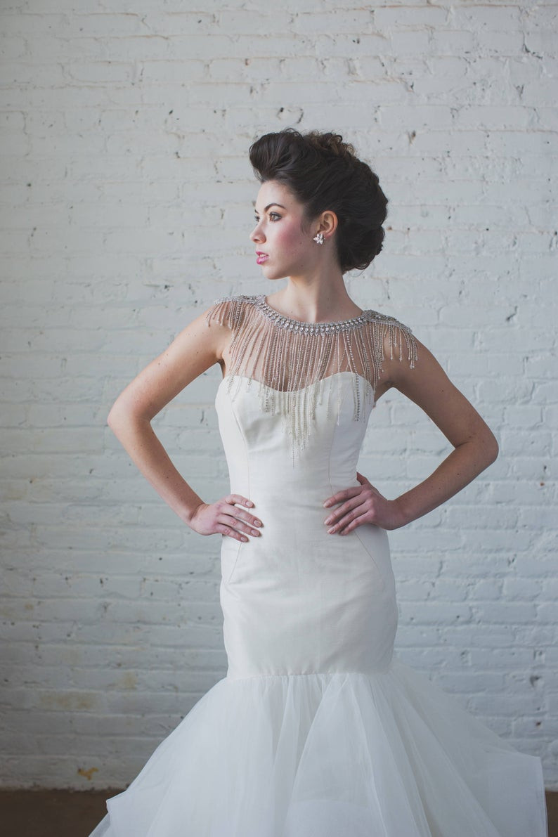 Body Jewelry Wedding  SHOULDER NECKLACE Bridal Body Jewelry Wedding Rhinestone