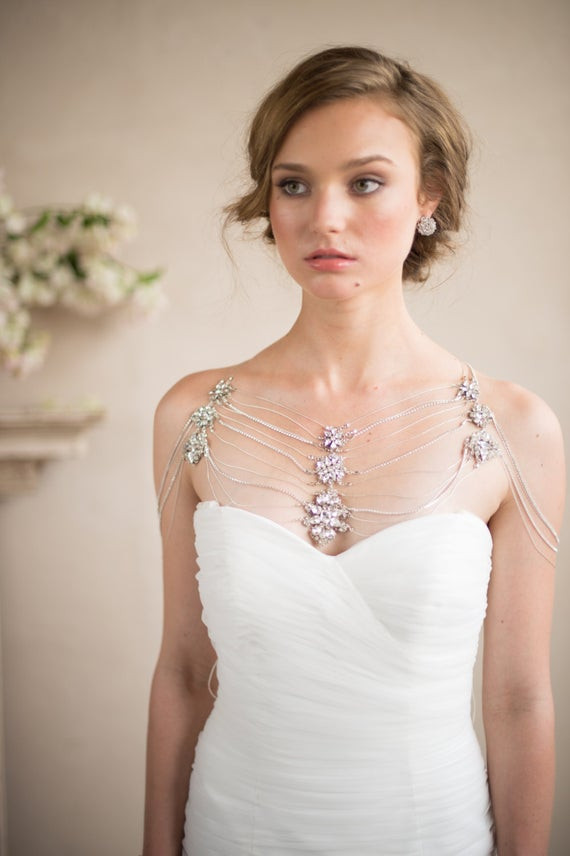 Body Jewelry Wedding  Shoulder Necklace Bridal Body Jewelry Silver by