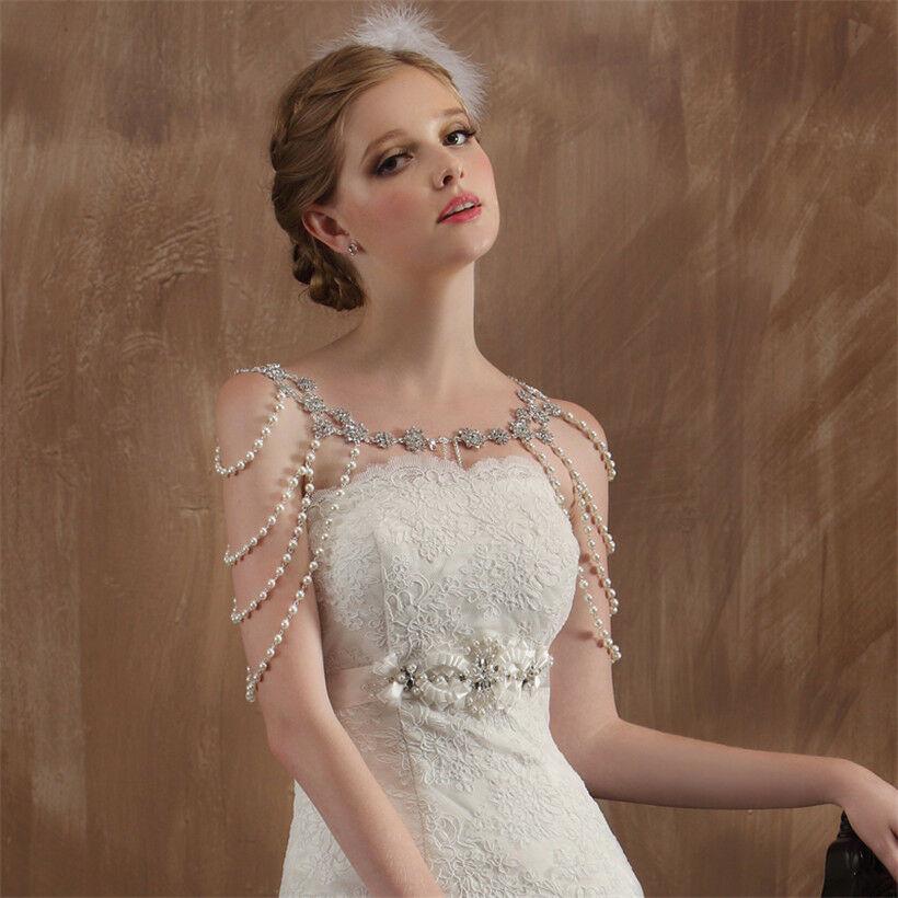 Body Jewelry Wedding  Wedding Bridal Silver Crystal Pearl Shoulder Body Chain