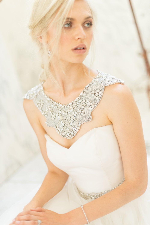 Body Jewelry Wedding  Bridal Shoulder Necklace Wedding Jewelry Opal Rhinestone Trim