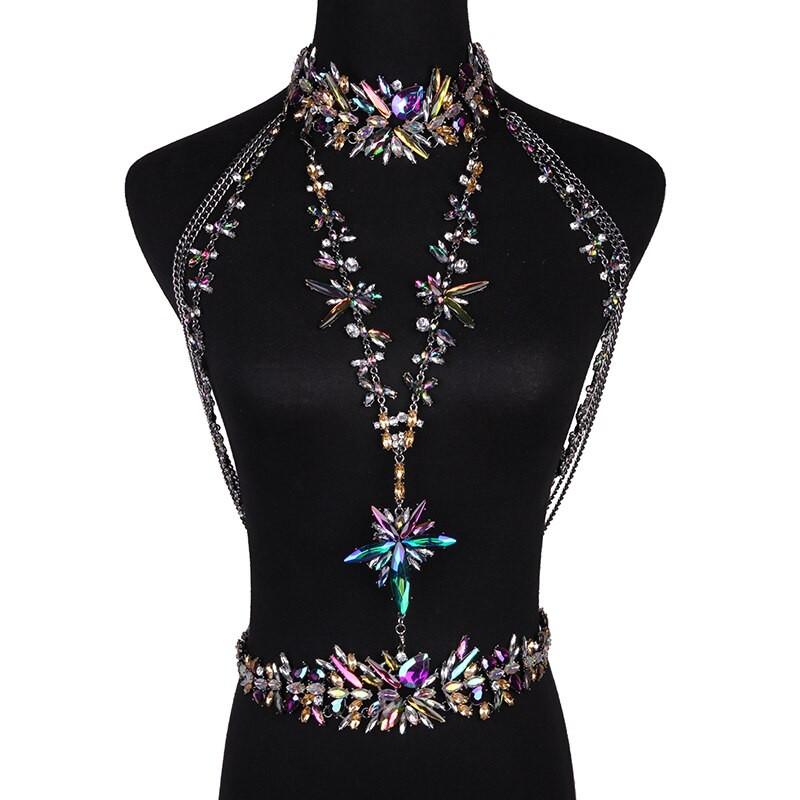 Body Jewelry Wedding  Miwens Big brand Crystal belly chain necklace women Luxury