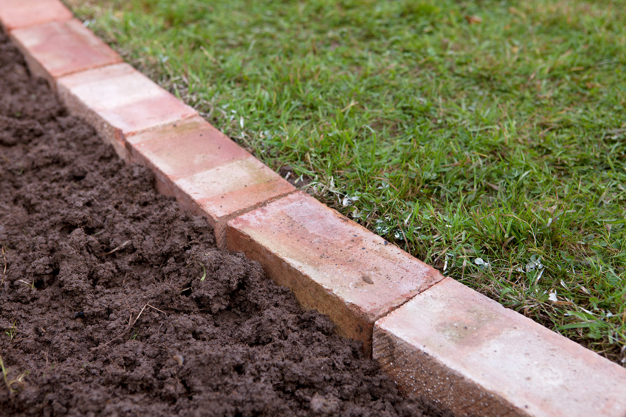 Brick Landscape Edging  Edge a lawn with bricks project gardenersworld