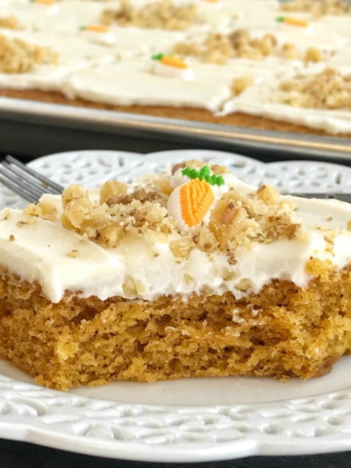 Carrot Cake Made With Baby Food  Sheet Pan Carrot Cake Bars