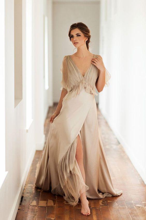 Champagne Wedding Gowns  25 Champagne Wedding Dresses That Impress Weddingomania