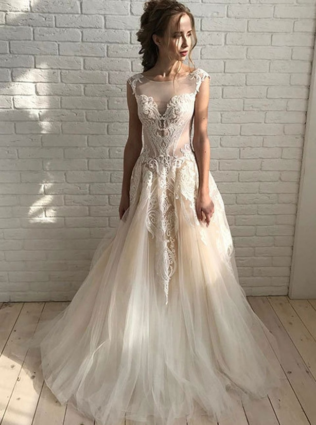 Champagne Wedding Gowns  Champagne Wedding Dresses Tulle Bridal Dress with Lace