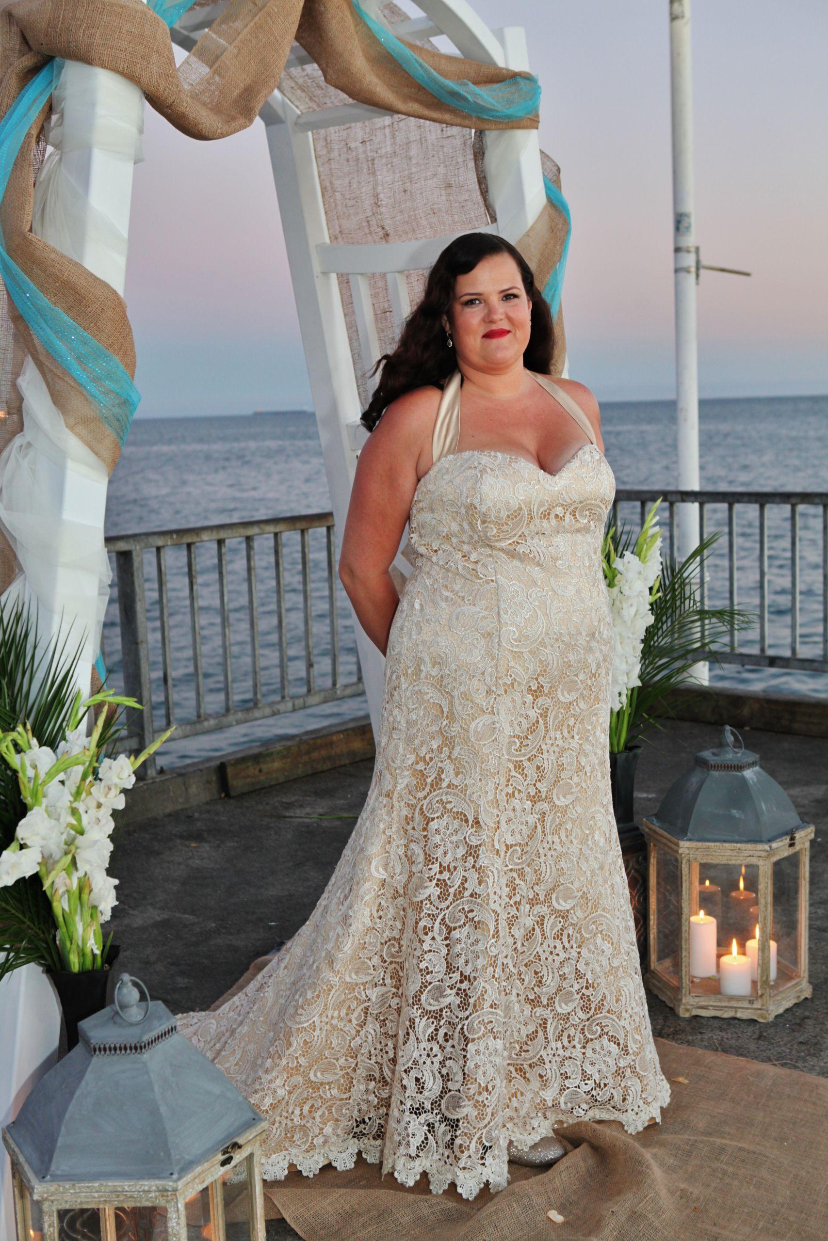 Champagne Wedding Gowns  Haydee s Champagne Lace Trumpet Wedding Dress Strut