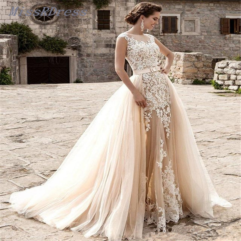 Champagne Wedding Gowns  2017 Removable Skirts Champagne Beach Wedding Dresses with