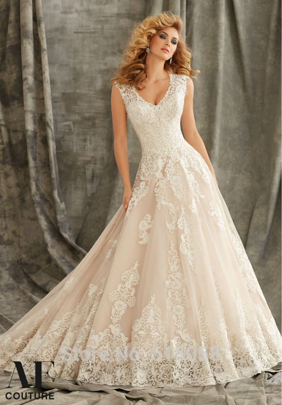 Champagne Wedding Gowns  Aliexpress Buy Elegant Champagne Lace Appliques V