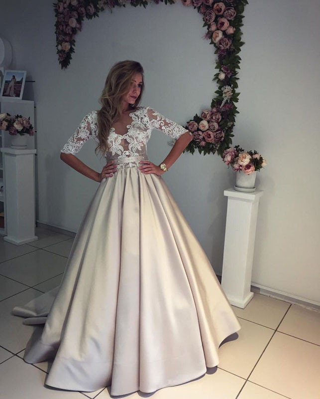 Champagne Wedding Gowns  Custom Ball Gown Champagne Wedding Dresses Half Sleeves