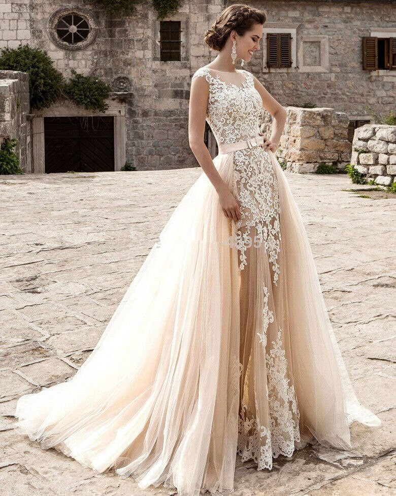Champagne Wedding Gowns  Custom Cap Sleeve White Ivory Champagne Bridal Gown 2017