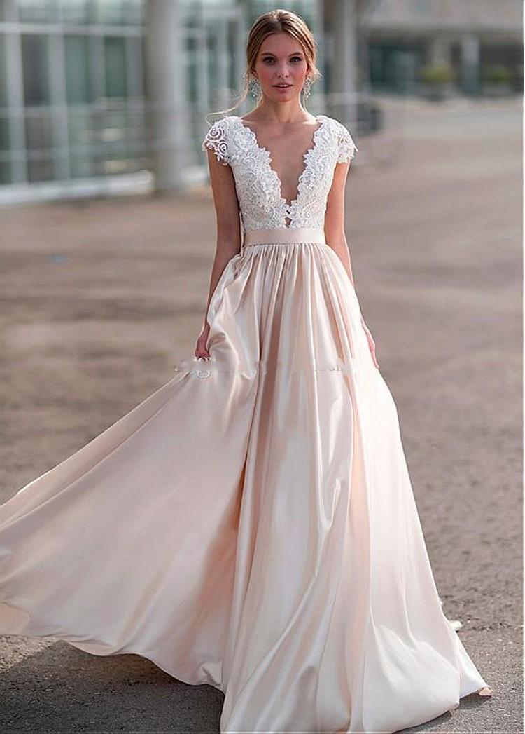 Champagne Wedding Gowns  Elegant Light Champagne Wedding Dresses Sheer Neck Cap